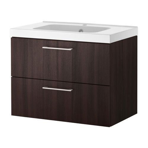 IKEA GODMORGON ODENSVIK, Kommod med 2 lådor, svartbrun, , 10års garanti Läs om villkoren i