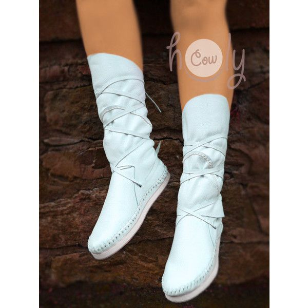 0ebc954eb8d Hand Stitched White Leather Moccasins