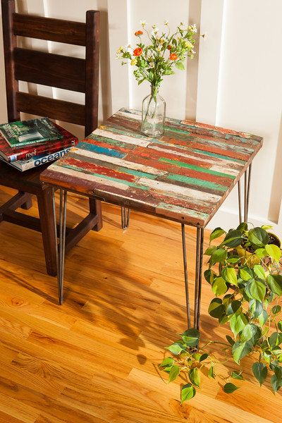 reclaimed bali boat wood end table, teak coffee table, colorful