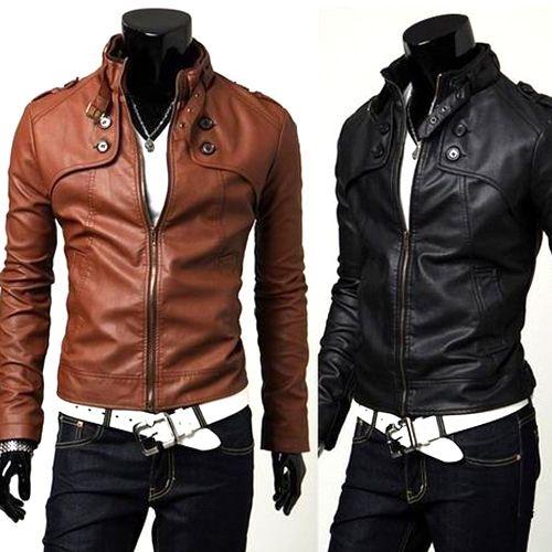 Fashion Hommes Faux Cuir Vestes Motard Fermeture Éclair Manteau Punk Outwear Casual Homme