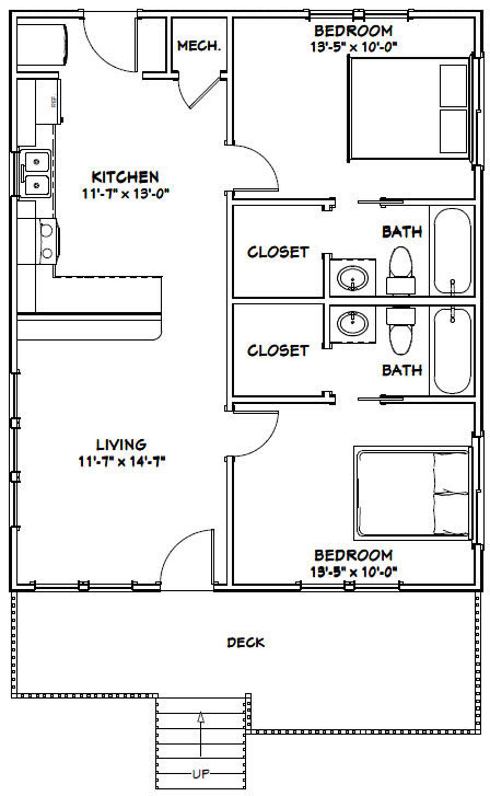 26x32 House 2 Bedroom 2 Bath 832 Sq Ft Pdf Floor Plan Etsy In 2020 Tiny House Floor Plans Floor Plans How To Plan