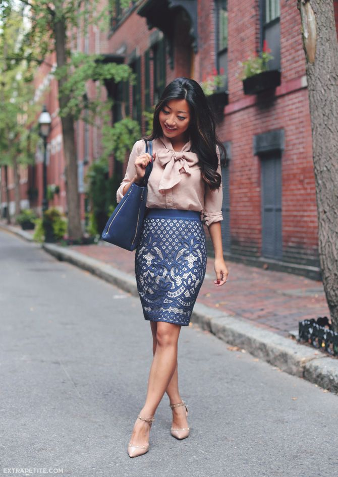 35407afd77 work outfit idea - bow top, ann taylor lace skirt, nude heels. navy +  neutral color scheme