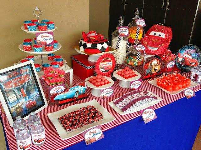 Lightning Mcqueen Cake And Disney Cars Dessert Table Cars Birthday Party Disney Disney Birthday Cakes Cars Theme Birthday Party