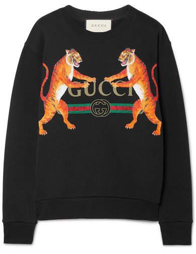 Gucci Oversized Printed Cotton-jersey Sweatshirt - Black Impronta Di Tigre 5110d39ee6c1