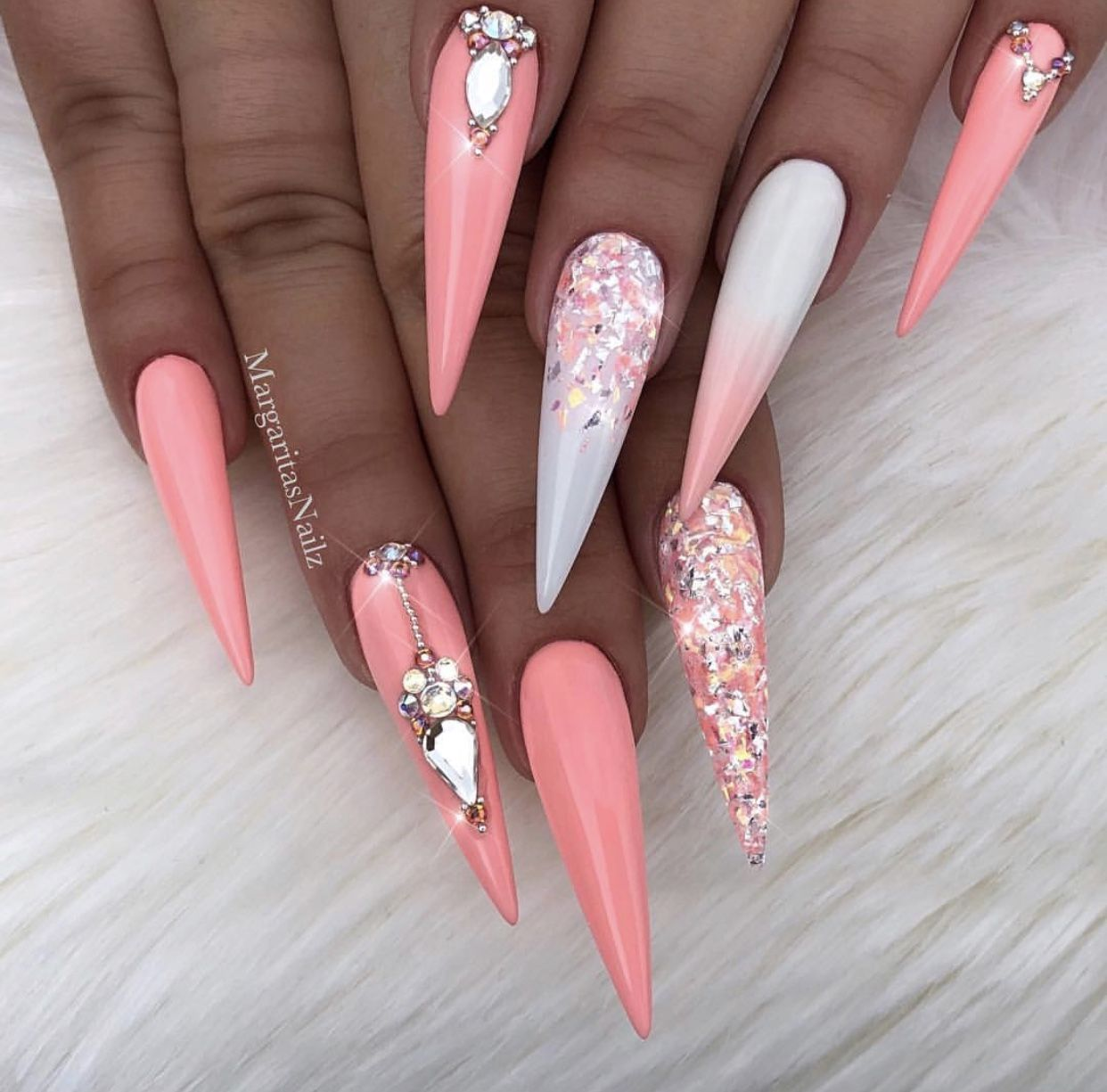 Love Everything Except The Shape Nail Designs Glitter Stiletto
