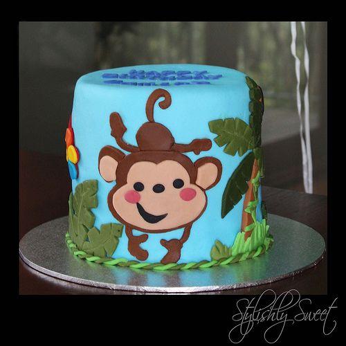 Cheeky Monkey 1st Birthday Cake Monkey Birthday Cakes Monkey Birthday 1st Birthday Cakes