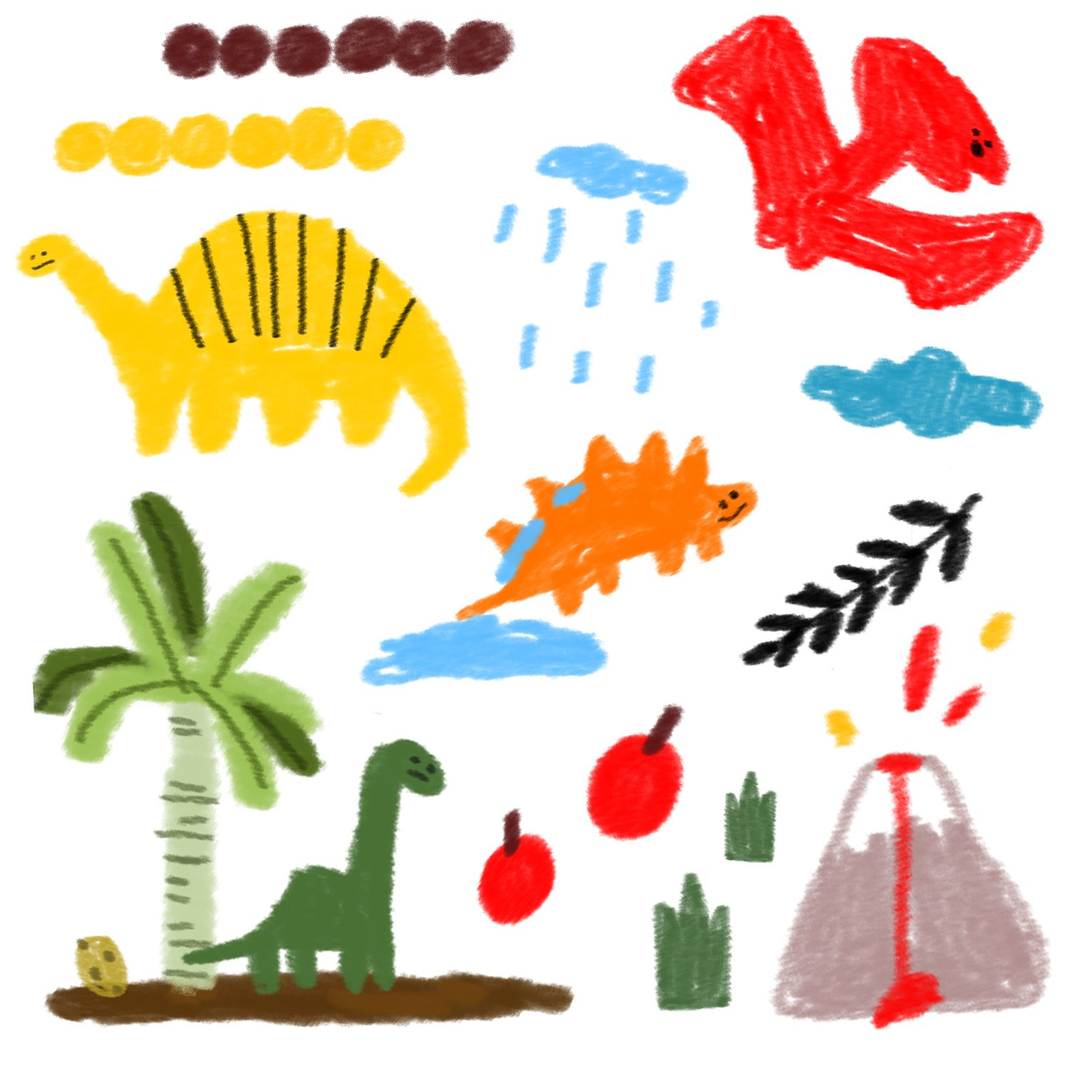 dinosaur illustrations  jurassic dinosaurs illustrate clip art fruits and cloud with volcano 공룡 일러스트 #dinosaurillustration