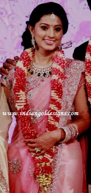 Sneha In Pink Bridal Saree At Her Wedding Reception Pink Bridal