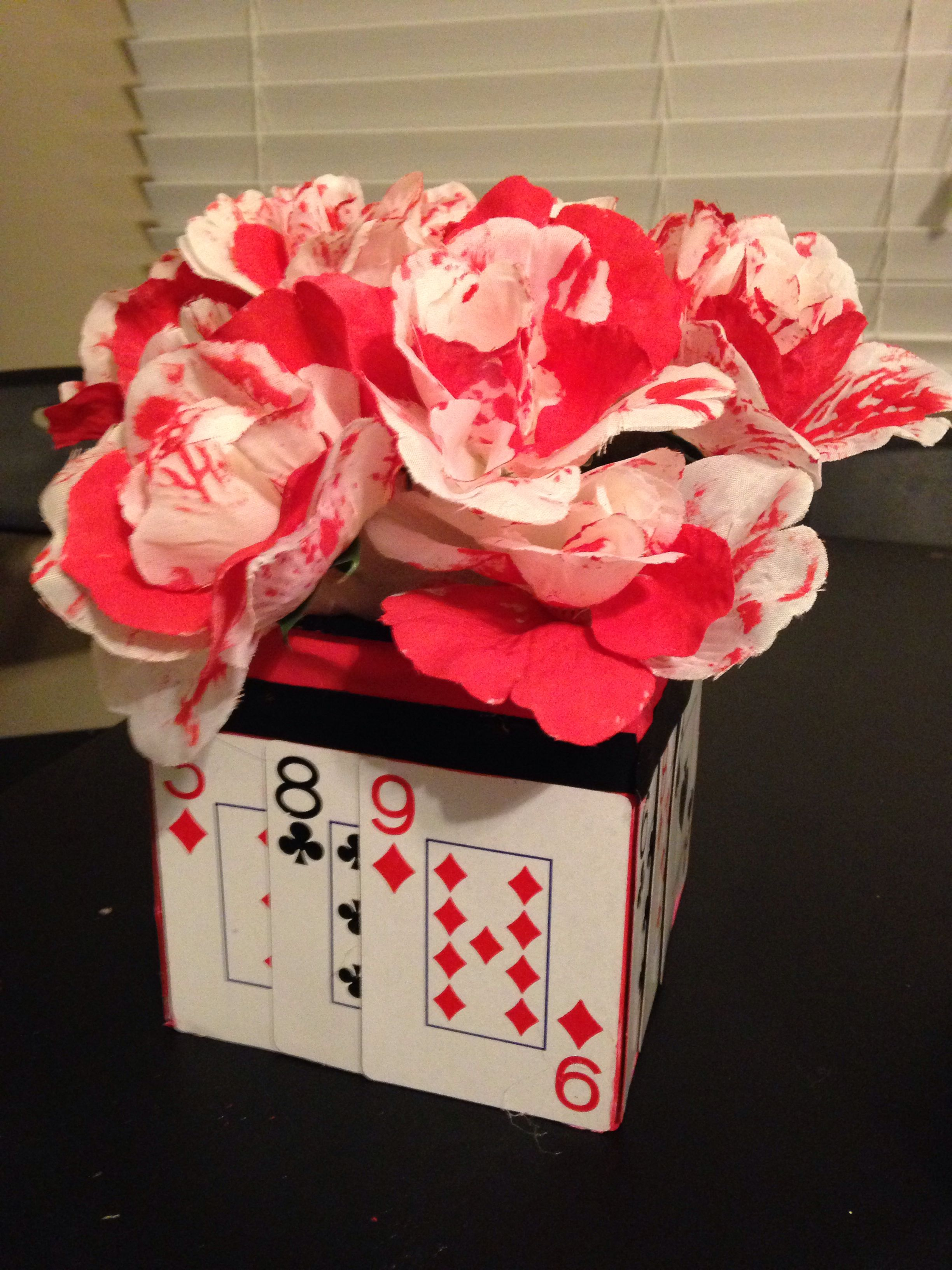 Centerpiece i made for queen of hearts party alice in