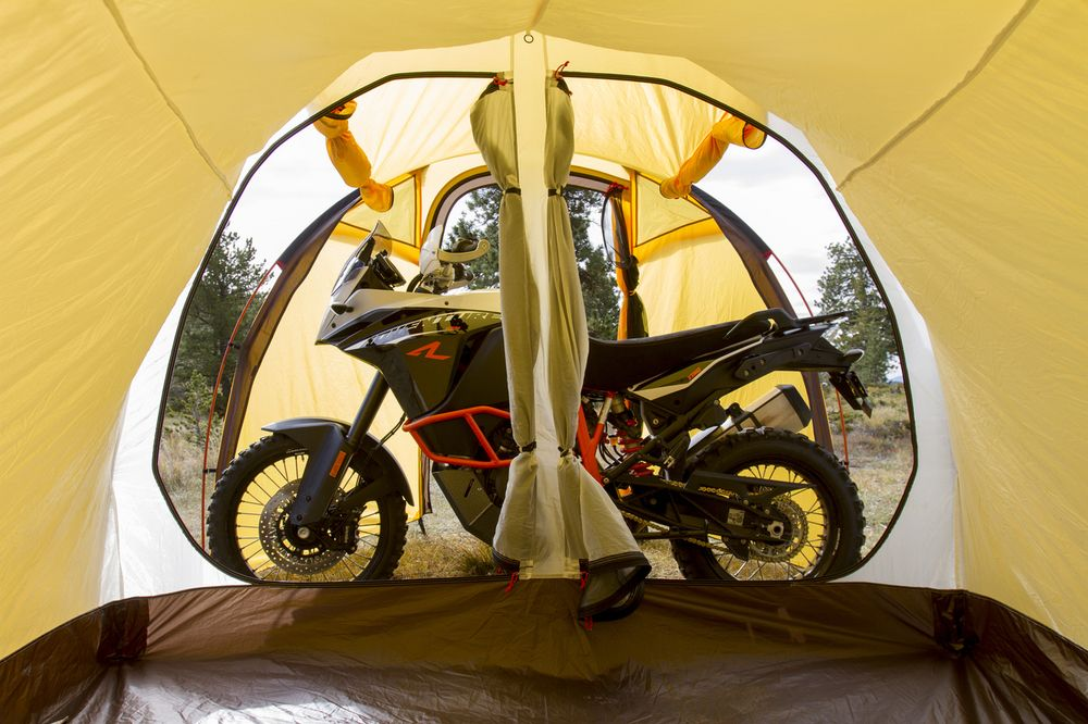 View from sleeping bay of Redverz Atacama tent fully opened up with KTM 1190R bike inside & View from sleeping bay of Redverz Atacama tent fully opened up with ...