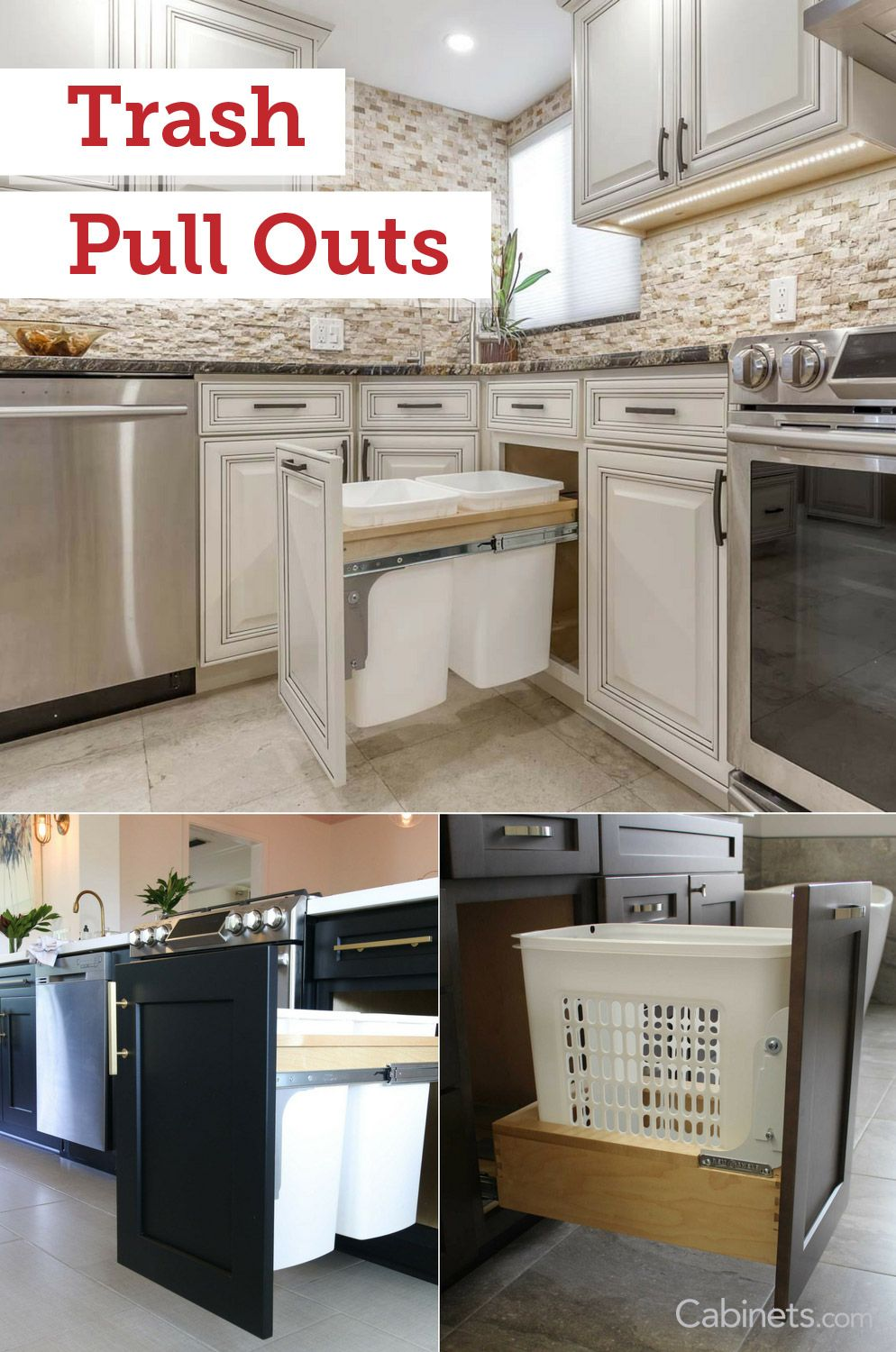 Adding A Trash Pull Out Is A Perfect Way Of Incorporating Style And Functionality To Your New Kitchen Cabinets Kitchen Design Home Kitchens Kitchen Remodel