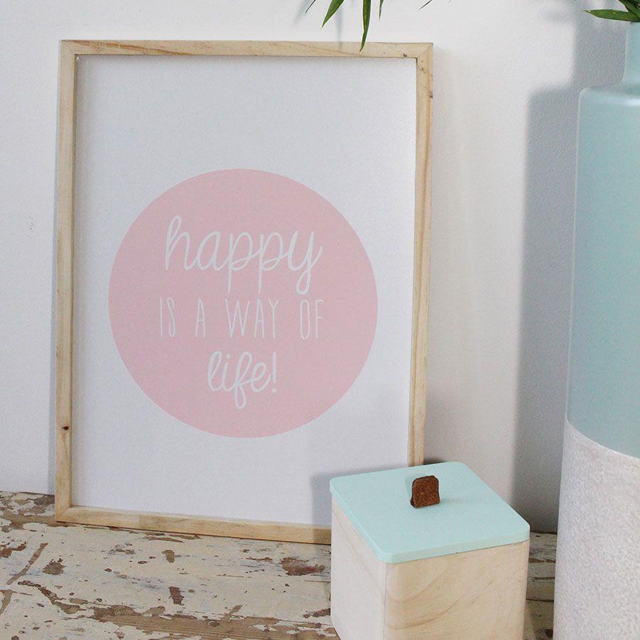 """passion pastel et style scandinave avec ce cadre """"happy"""" tout en"""