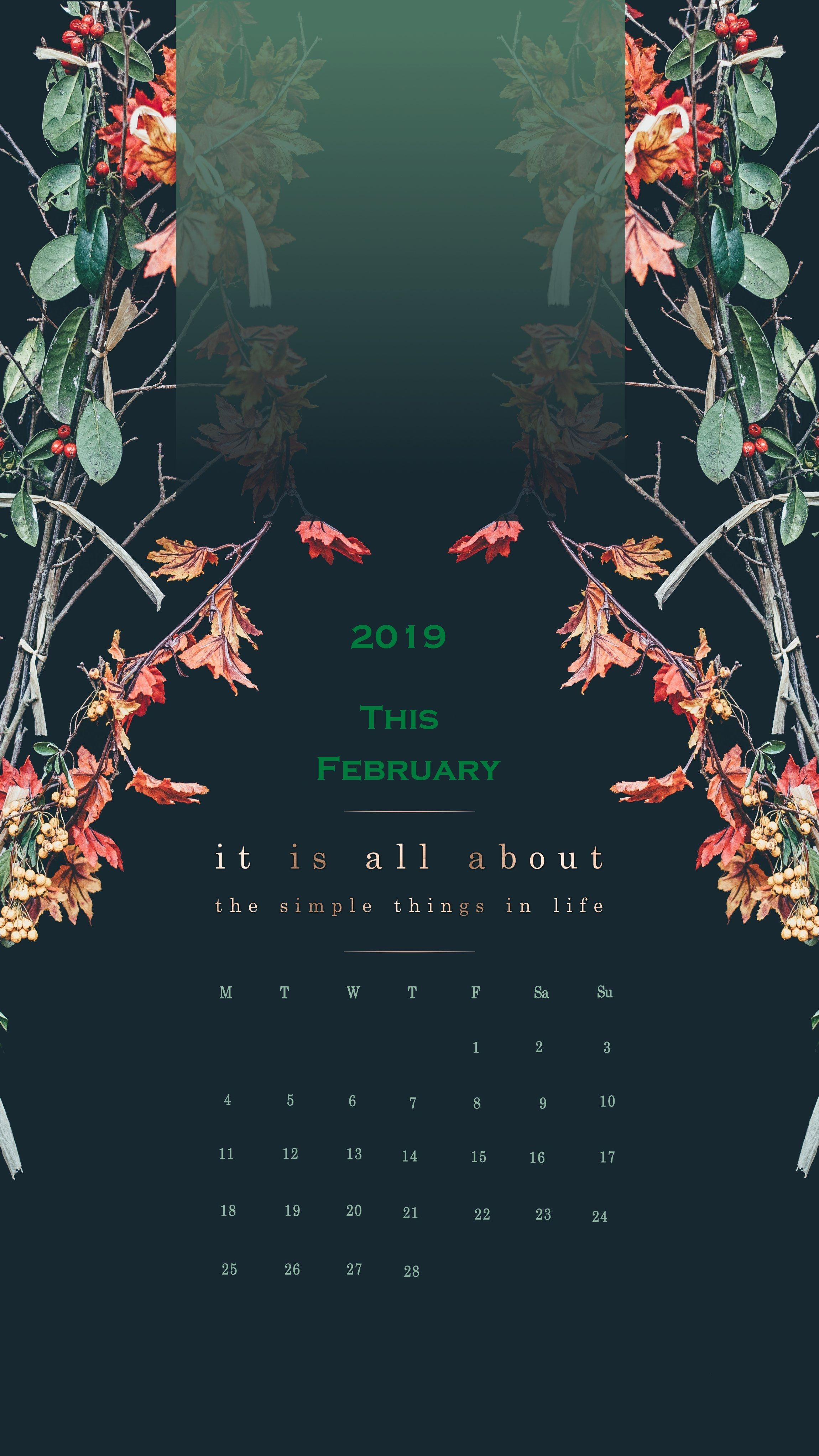 February 2019 iPhone Calendar Wallpaper (With images)