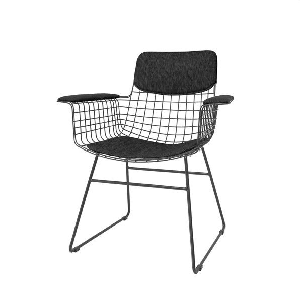 Metal Wire Dining Chair with arms - Black - Curious Grace