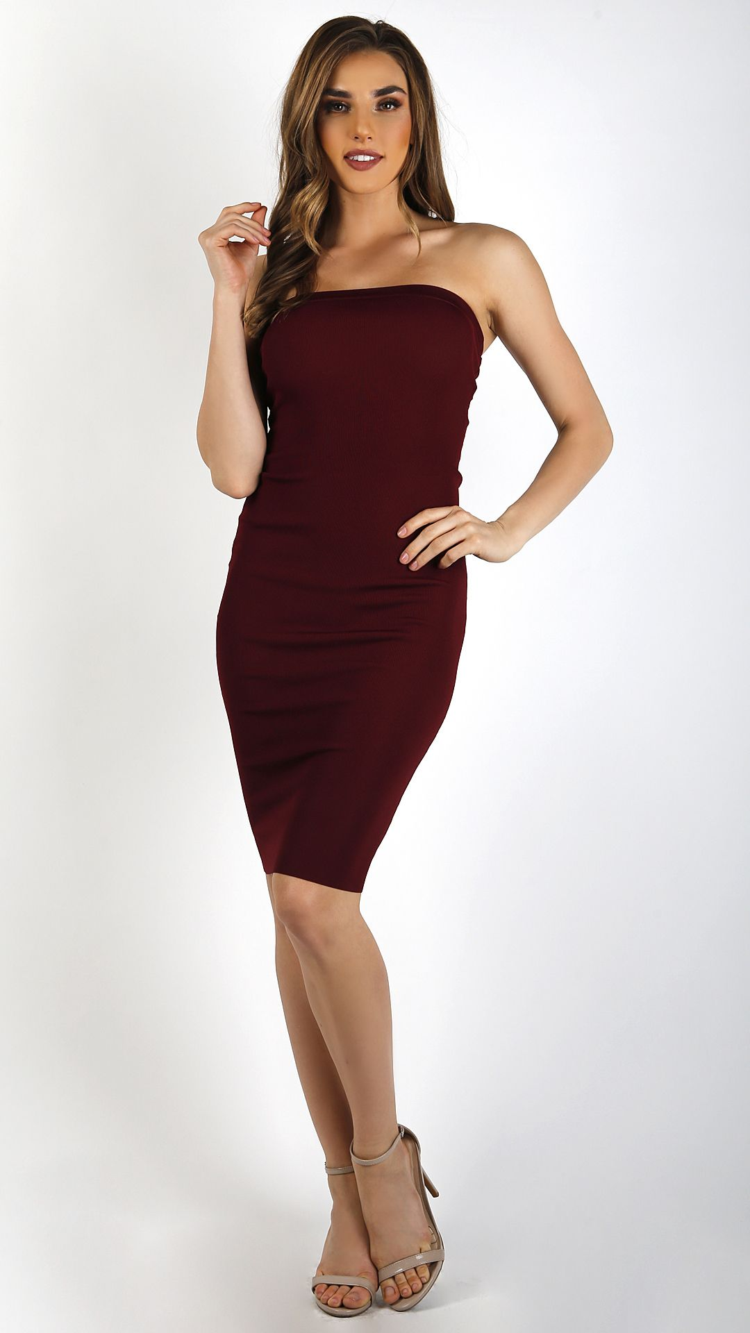 78083efbaf88 Ribbed Bodycon Midi Tube Dress- Burgundy