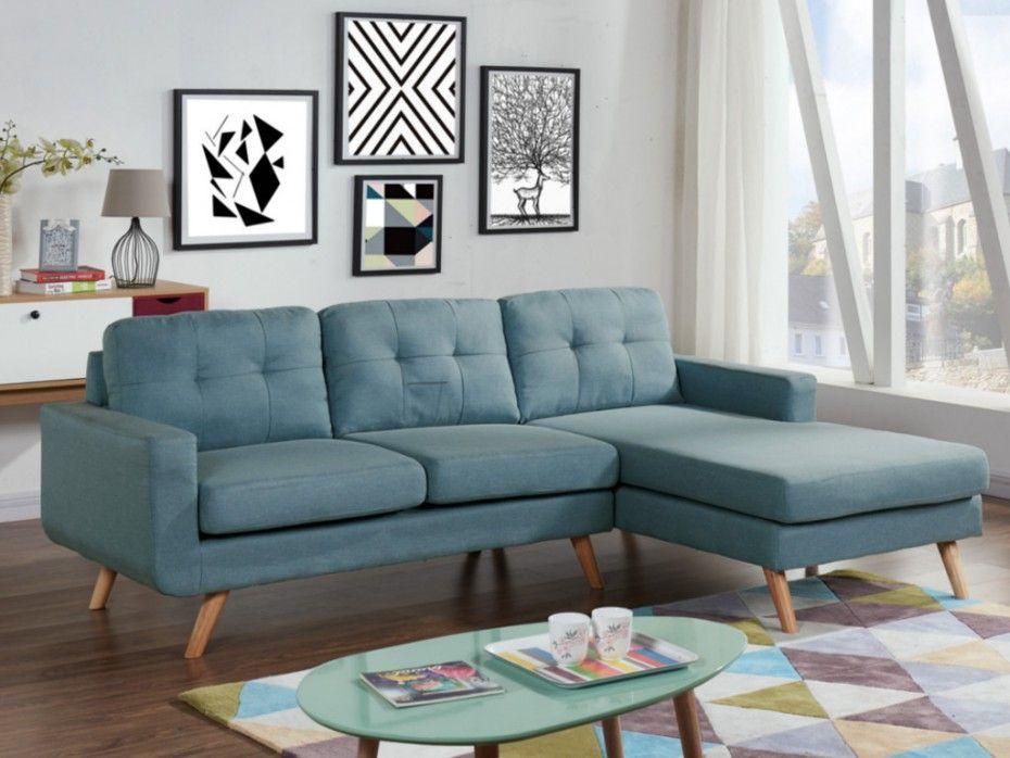 Canapé d\'angle en tissu bleu - Angle droit - SIGRID | muebles ...