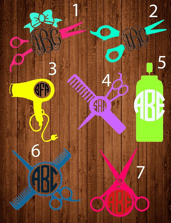 Hair Stylist Monogram DecalHair Tools Monogram Hair By LCDAZZLE - Hair stylist custom vinyl decals for car