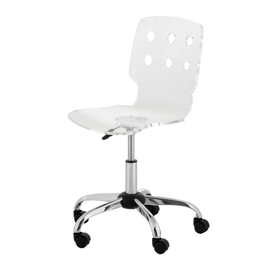 Chaise pivotante Tracy pour jeunes Plastique Blanc transparent