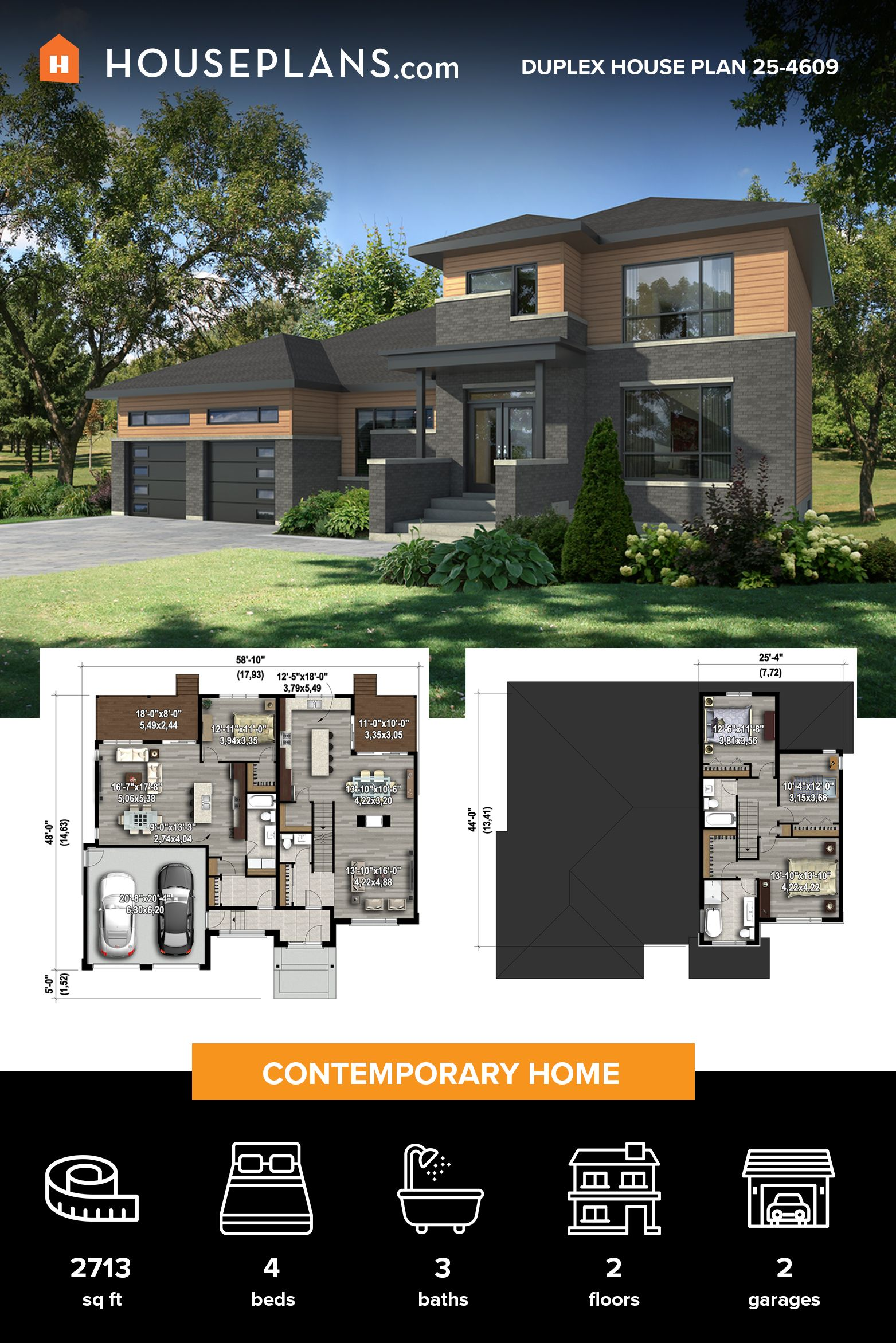 Contemporary Style House Plan 4 Beds 3 Baths 2713 Sq Ft Plan 25 4609 In 2020 House Plans Modern House Plans Modern House Design