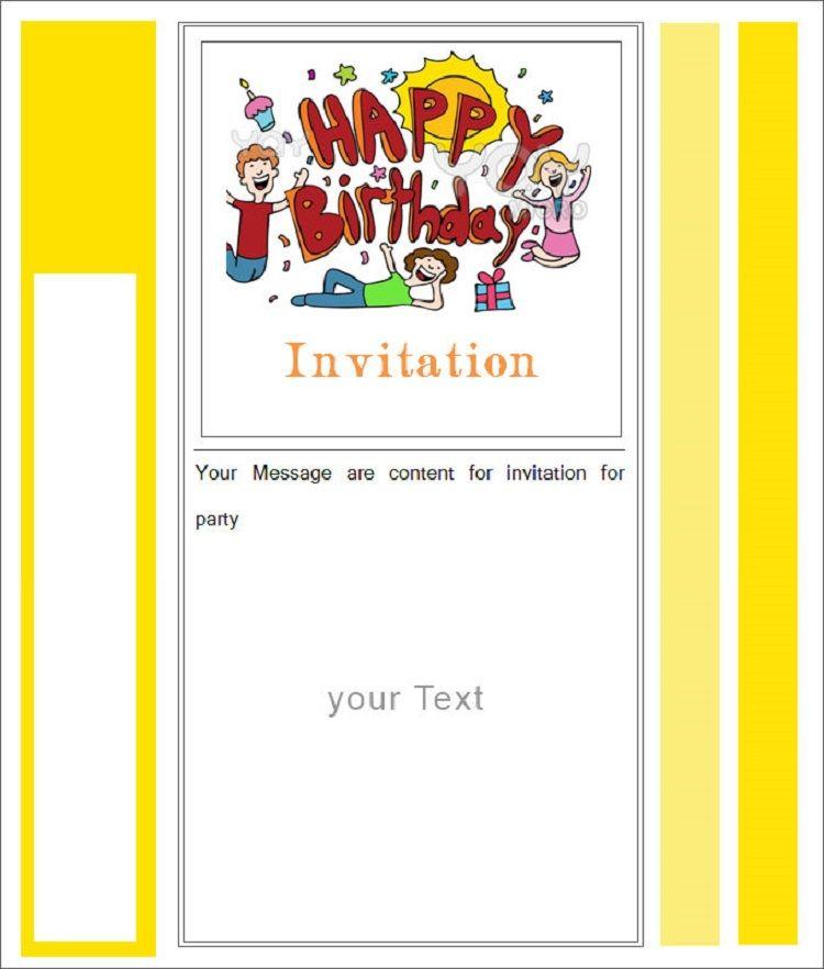 happy birthday invitation card with photo blank Party ideas