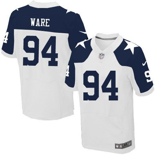 nfl mens elite nike dallas cowboys 94 demarcus ware throwback alternate white jersey