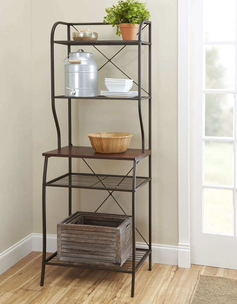 Kitchen Bakers Rack Storage Cabinet Microwave Pantry Stand ...