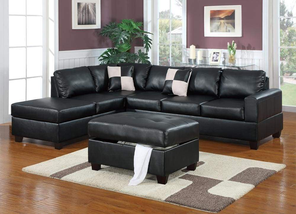 Bonded Leather 3 Piece Sectional Sofa With Ottoman In Black ...