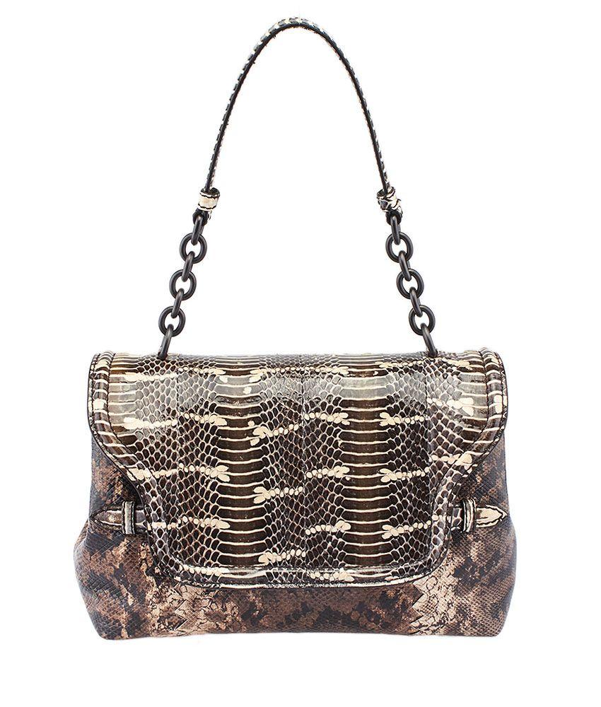 Bottega Veneta Brown Snakeskin Medium Flap Shoulder Bag