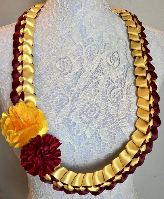Burgundy /& Gold Braided Necklace Ribbon Lei