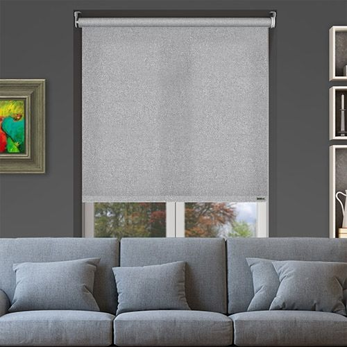 Controliss Perla Silver Battery Powered Roller Blind Is A Unique And Cool Silver Coloured Fabric Com Imagens Cortinas
