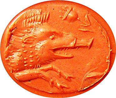Impression from Ancient Greek Plasma Intaglio, depicting Boar & Poppy - symbolic of Adonis