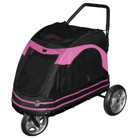Pet Gear Roadster Pet Stroller for Cats and Dogs, Black/Pink $171.33...Rae you need this.