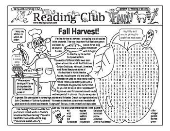 FALL HARVEST, APPLES & JOHNNY APPLESEED Bundle. Includes: � Fall Harvest Two-Page Activity Set  What Happens in the Fall? (Crossword Puzzle)  � Johnny Appleseed (Biography & Legend of) Crossword and Word Search Puzzles