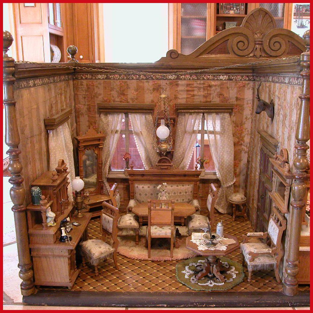German Luxury House: Antique German Dollhouse Oak 10 Pc. Luxury Parlor Suite