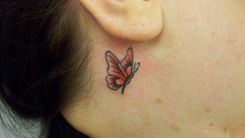 Side Ear Small Butterfly Tattoo Tattoo Ideas Small Butterfly