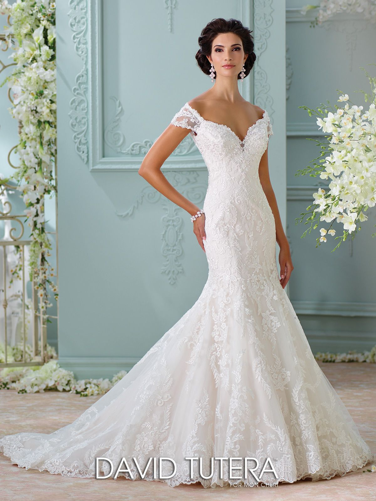 Off-The-Shoulder Embroidered Lace Wedding Dress- 116201 Aura | Ivory ...