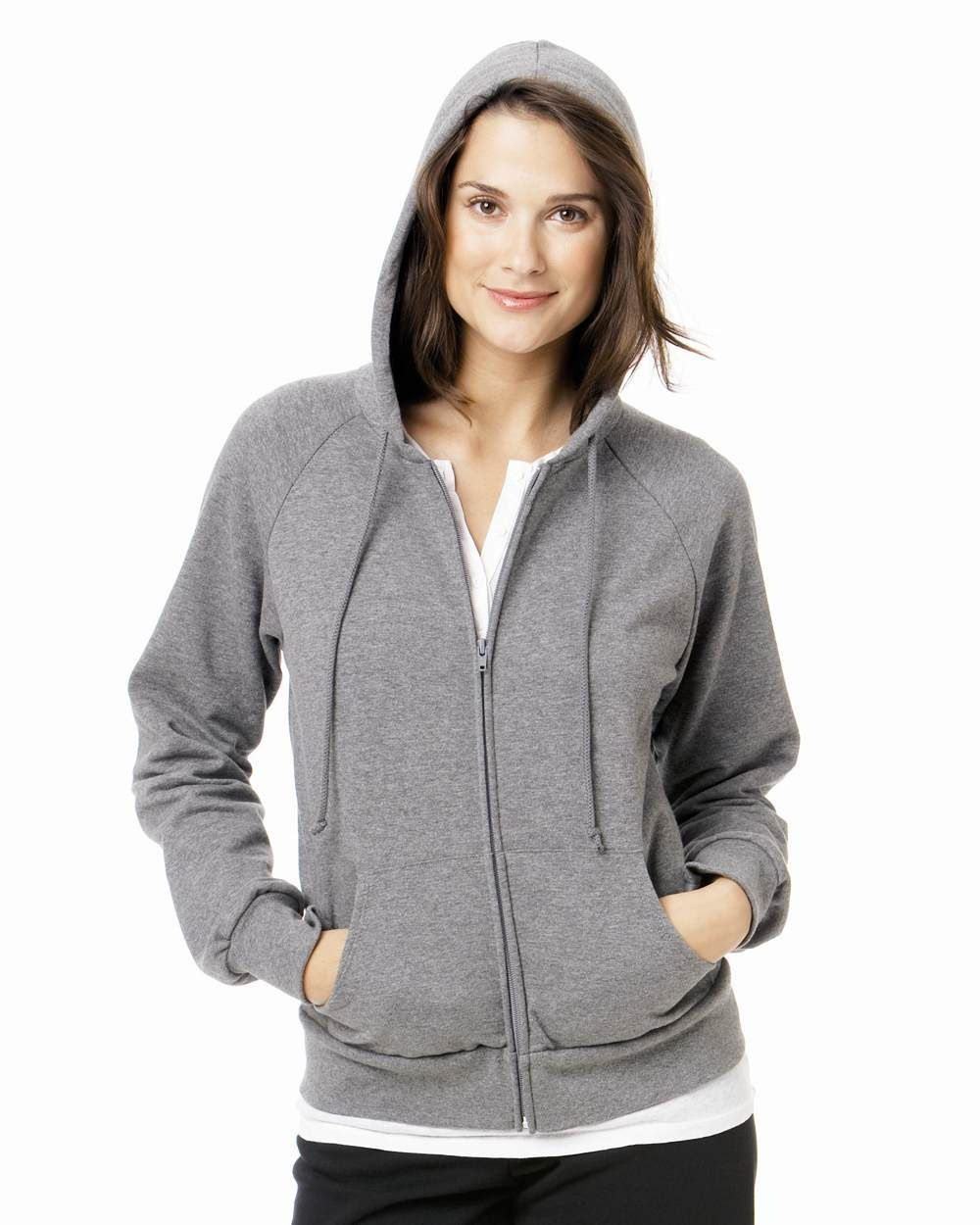 Bella Ladies Hoody Sweatshirt Raglan Full Zip Hooded Sweat Shirt ...
