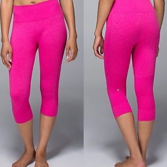 cbc8d9ba9ce6f0 Pink Lululemon crops Size 4 Pink Lululemon crops; in EXCELLENT condition.  Only worn a handful of times. These pants are super cute!! lululemon  athletica ...