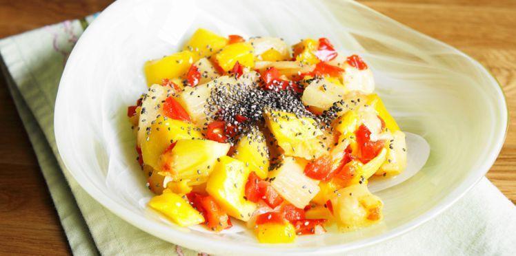Salade mangue ananas au poivron et aux graines de chia #saladeautomne Salade mangue ananas au poivron et aux graines de chia #saladeautomne