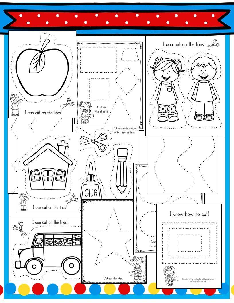 Cutting Practice Pack Beginning Of Kindergarten Scissor Practice