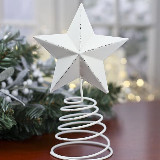 Distressed White Washed Metal Star Tree Topper Star Tree