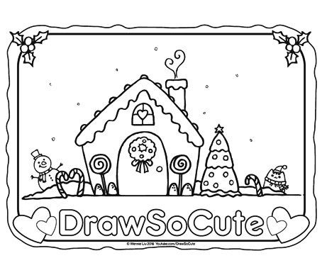 Christmas Coloring Page Gingerbread House Coloring Pages Cute Coloring Pages Cute Drawings