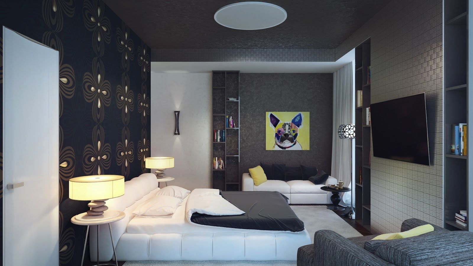 Black Feature Wall With Yellow S To Brighten