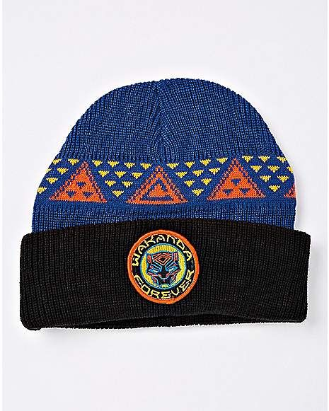 7a9c94e85 Navy Blue Wakanda Forever Beanie Hat - Black Panther | Hats, Caps ...