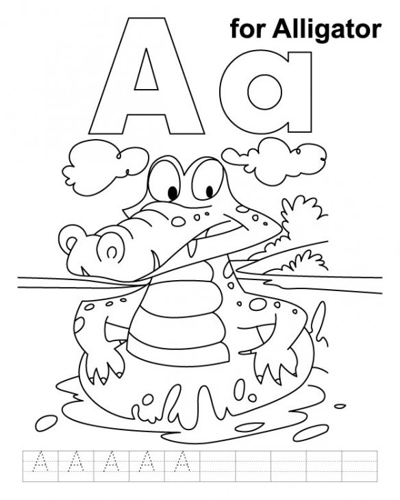 A Is For Alligator Coloring Page To Print For Kids ...
