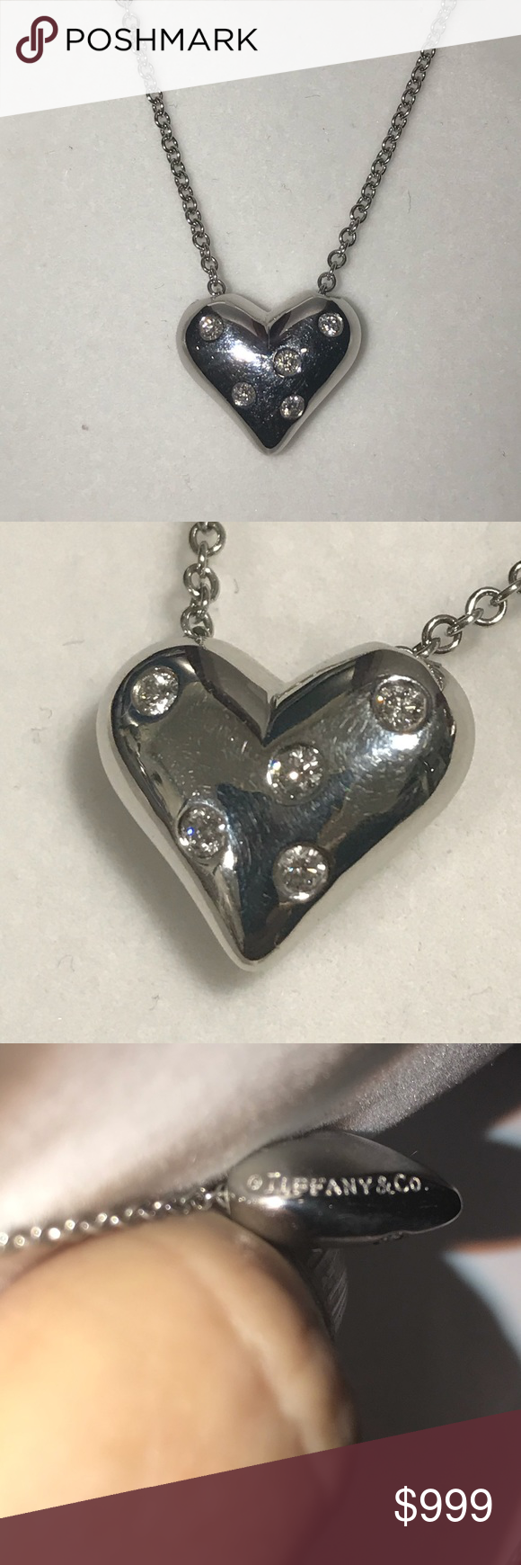 New Item Tiffany 17 Platinum Etoile Necklace Beautiful Tiffany Co 17 5 Diamond Platinum Ettoile Puff Womens Jewelry Necklace Necklace Heart Charm Bracelet