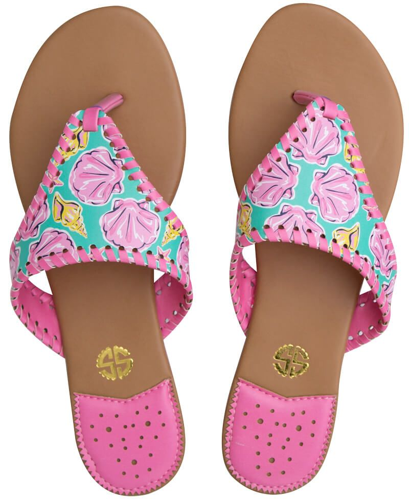 a9f81a38095a Simply Southern Preppy Collection Multi Shells Sandals for Women in Pink  SANDAL-SHELLY