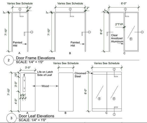 Door Frame And Door Leaf Elevations Interior Sections