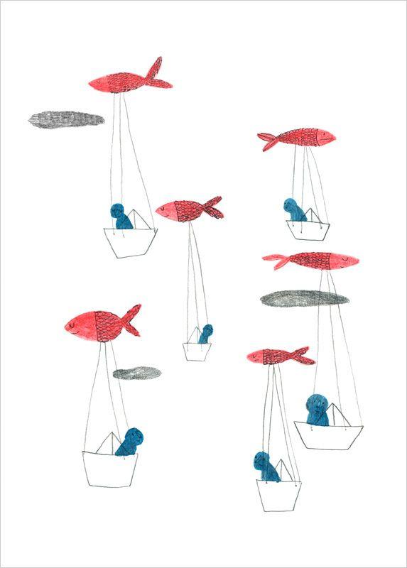 https://flic.kr/p/fhDt54 | Montgolfish by Marion Barraud - L'Affiche Moderne | Limited edition art print Montgolfish by Marion Barraud. Buy it now!