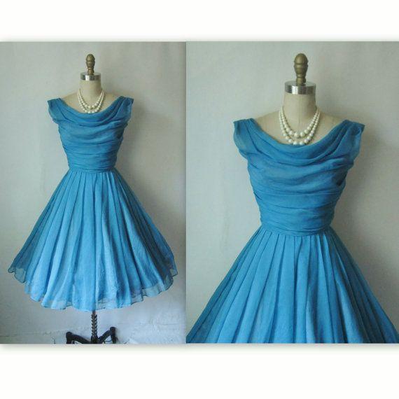 Vintage Blue Chiffon Party Dress